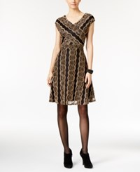 Ny Collection Petite Metallic Lace Fit And Flare Dress Gold Rosethorn