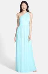 Women's Donna Morgan 'Rachel' Ruched One Shoulder Chiffon Gown Gulfstream