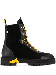 Off White Contrasting Lace Up Boots Black