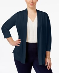Charter Club Plus Size Open Front Cardigan Only At Macy's Intrepid Blue