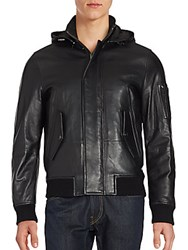 Michael Kors Military Leather Hooded Jacket Black