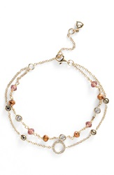 Judith Jack Double Row Beaded Line Bracelet Pink Gold