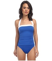 Lauren Ralph Lauren Bel Aire Shirred Bandeau Mio Slimming Fit One Piece Marina Blue Women's Swimsuits One Piece