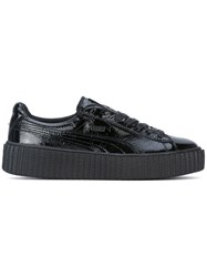 Puma Lace Up Sneakers Women Leather Patent Leather Rubber 10 Black