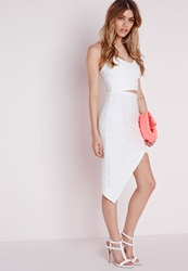 Missguided Bandage Asymmetric Midi Skirt White White