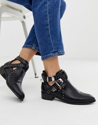 Pimkie Low Heeled Boots With Studs And Straps Detail In Black