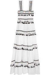 Dodo Bar Or Tiered Embellished Embroidered Cotton Gauze Maxi Dress White