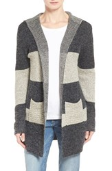 Women's Coin 1804 Colorblock Hooded Cardigan Charcoal Cream