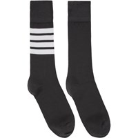 Thom Browne Grey 4 Bar Mid Calf Socks