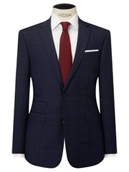John Lewis Wool Check Tailored Fit Suit Jacket Navy