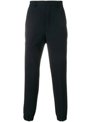 Ami Alexandre Mattiussi Elasticized Hem Carrot Fit Trousers Blue