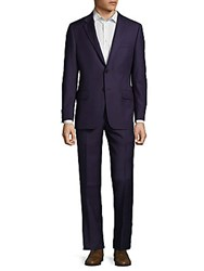 Hickey Freeman Two Piece Wool Check Suit Navy