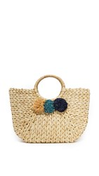 Hat Attack Round Handle Pom Pom Tote Natural Blue