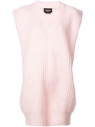 Calvin Klein 205W39nyc V Neck Knitted Top Pink