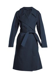 Christophe Lemaire Oversized Cotton Twill Trench Coat Dark Blue