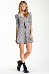 Angie Elbow Length Sleeve Fit And Flare Skater Dress Gray