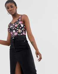 Cheap Monday Roses Are Dread All Over Print Bodysuit With Recycled Polyester Black