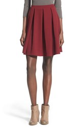 Junior Women's Painted Threads Pleated A Line Skirt Burgundy