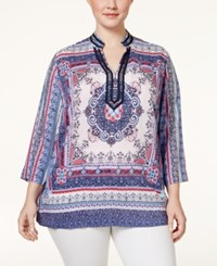 Charter Club Plus Size Scarf Print Tunic Only At Macy's Crushed Peony Combo