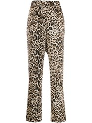 Cambio Side Stripe Leopard Print Trousers Neutrals