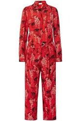 Red Valentino Redvalentino Woman Cropped Printed Silk Crepe Jumpsuit