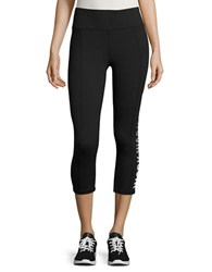 Betsey Johnson Text Graphic Active Cropped Leggings Black White