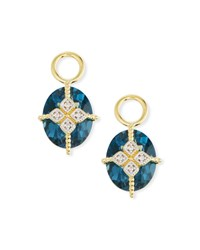 Jude Frances 18K Gold Lisse Blue Topaz And Kite Earring Charms