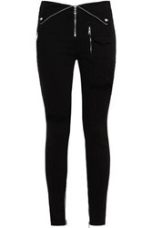 Rta Woman Fold Over Distressed High Rise Skinny Jeans Black