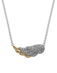Lord And Taylor Sterling Silver And 14Kt. Yellow Gold Diamond Wing Necklace Gold Silver