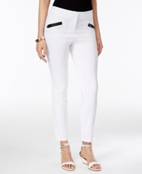 Thalia Sodi Faux Leather Trim Skinny Pants Only At Macy's Bright White