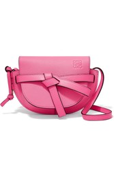 Loewe Gate Mini Textured Leather Shoulder Bag Bright Pink
