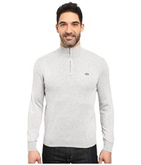 Lacoste Classic 1 4 Zip Jersey Sweater Silver Grey Chine Navy Blue Men's Sweater Gray