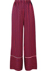 House Of Holland Striped Flocked Satin Pajama Pants Red