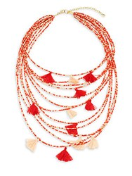 Saks Fifth Avenue Beaded Statement Necklace Red