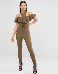 Oh My Love Off The Shoulder Jumpsuit Khaki Green