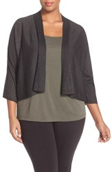 Plus Size Women's Eileen Fisher Kimono Sleeve Crop Cardigan Charcoal