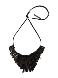 Monies Square Rod Tassel Necklace Black