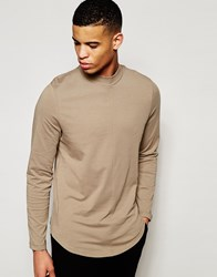 Asos Longline Long Sleeve T Shirt With Turtleneck And Curved Hem Brown