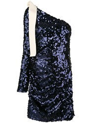 Msgm Sequin One Shoulder Dress Women Polyester Spandex Elastane 42 Blue