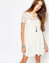 Pull And Bear Embroidered Mesh Dress Ecru