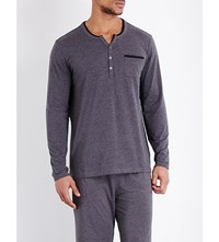 Hugo Boss Henley Jersey Pyjama Top Navy Grey