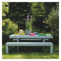 Habitat Tico 8 Seater Dining Set With Tico Grey Table And 2 Tico Grey Benches Ecru