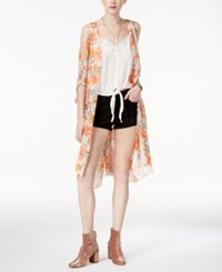 American Rag Juniors' Cold Shoulder Kimono Only At Macy's Peach Combo