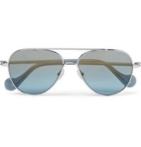 Moncler Aviator Style Palladium Plated Sunglasses Blue