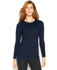 Alfani Long Sleeve Ruched Top Navy