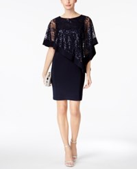 R And M Richards Petite Sequined Cape Sheath Dress Navy