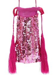 Attico Sequin Phone Case Mini Shoulder Bag Light Fuchsia