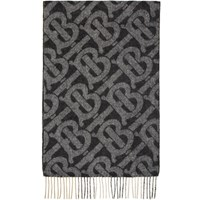 Burberry Reversible Black Cashmere Mega Check And Monogram Scarf
