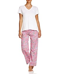 Ralph Lauren Sateen Knit Top Woven Pants Pajama Set Floral Pink Multi
