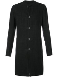 Label Under Construction Buttoned Coat Black